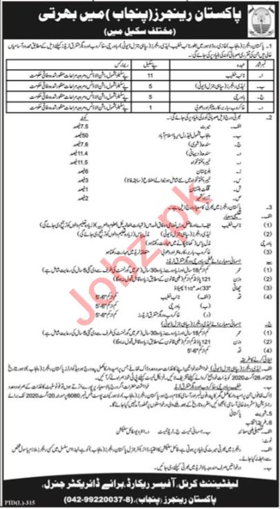 Pakistan Rangers Punjab Jobs 2020 for Lady Ranger & Cook