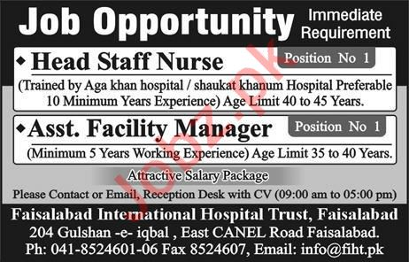 Head Staff Nurse & Assistant Facility Manager Jobs 2020