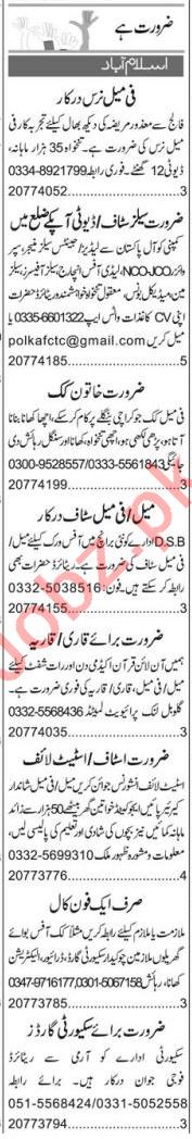 Female Nurse & Public Dealing Expert Jobs 2020 in Islamabad