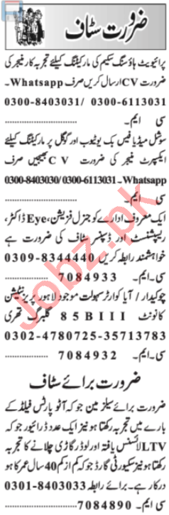 Marketing Manager & General Physician Jobs 2020