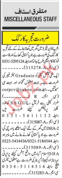 Sale Manager & Property Surveyor Jobs 2020 in Islamabad
