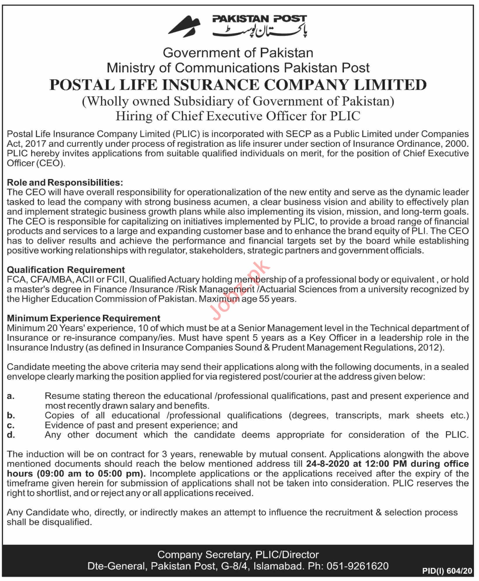 Postal Life Insurance Company PLIC Jobs 2020 for CEO