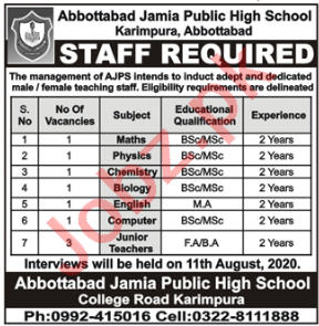 Abbottabad Jamia Public High School Jobs 2020 for Teachers