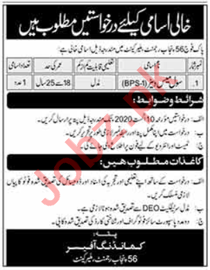 Pak Army 56 Punjab Regiment Malir Cantt Jobs 2020