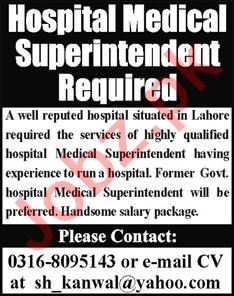 Hospital Medical Superintendent Jobs 2020 in Lahore