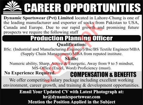 Production Planning Officer Jobs 2020 in Lahore