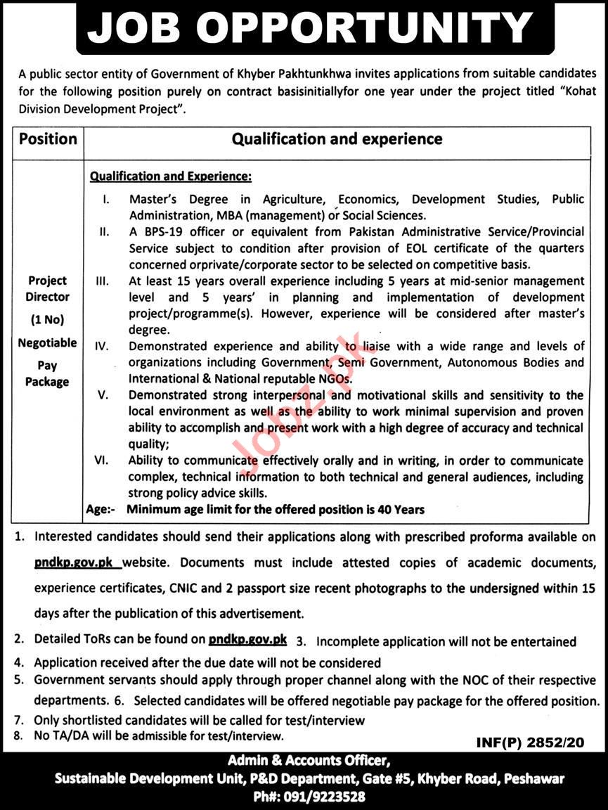 Kohat Division Development Project Jobs for Project Director