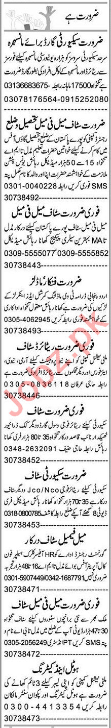 Receptionist & Security Guard Jobs 2020 in Peshawar