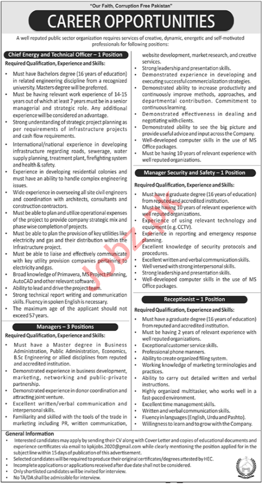 Chief Energy & Technical Officer Jobs 2020 in Peshawar