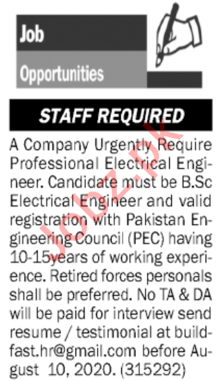 Electrical Engineer & Engineer Jobs 2020 in Islamabad