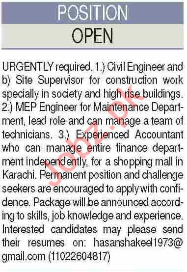 Civil Engineer & Site Supervisor Jobs 2020 in Karachi