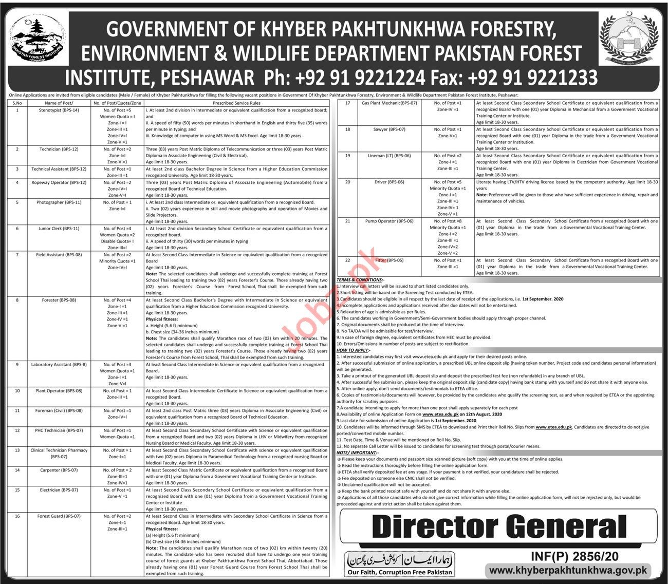 Pakistan Forest Institute PFI Peshawar Jobs 2020