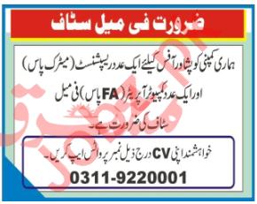Receptionist & Computer Operator Jobs 2020 in Peshawar
