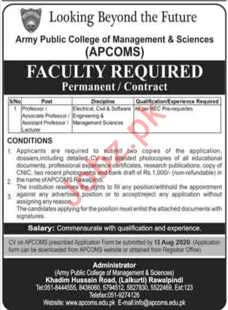 APCOMS College Jobs 2020 for Professors & Lecturers