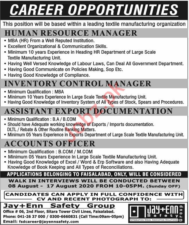 Jay Enn Safety Group Jobs 2020 for Human Resource Manager