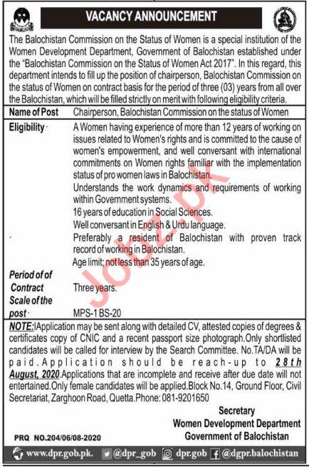 Balochistan Women Development Department Jobs 2020