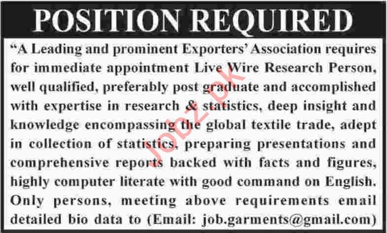 Live Wire Research Person Jobs 2020 in Karachi