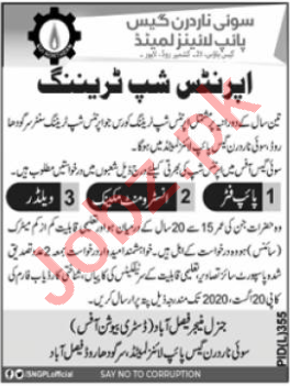 SNGPL Apprenticeship Training Program Faisalabad 2020