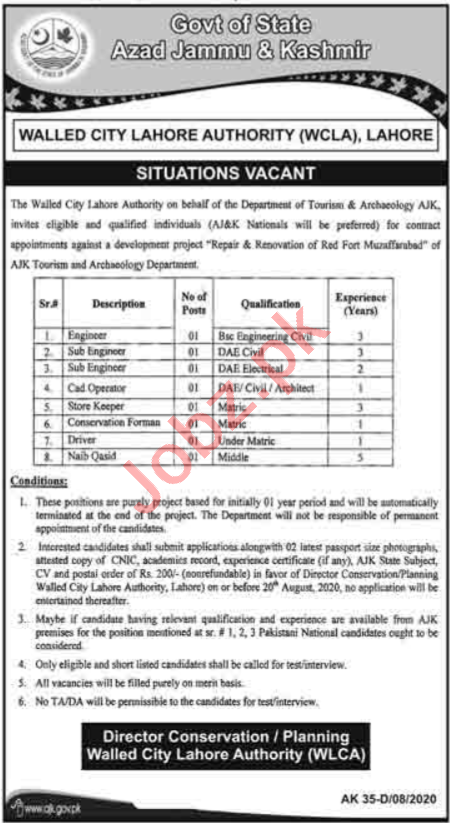 Walled City Lahore Authority WCLA Jobs 2020 for Engineers