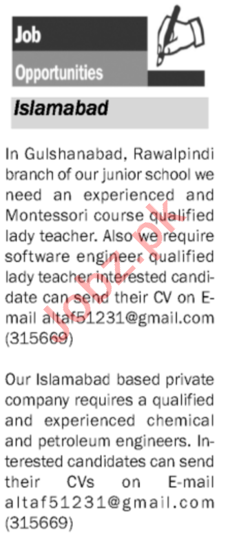 Montessori Teacher & Chemical Engineer Jobs 2020