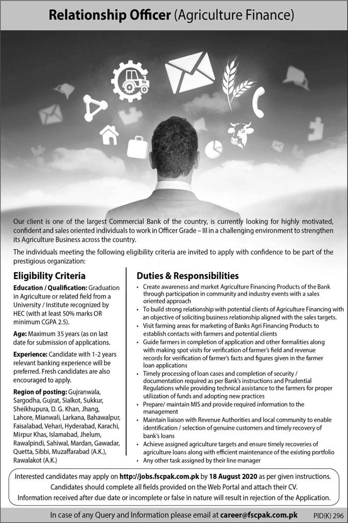 Relationship Officer Agriculture Finance Job 2020