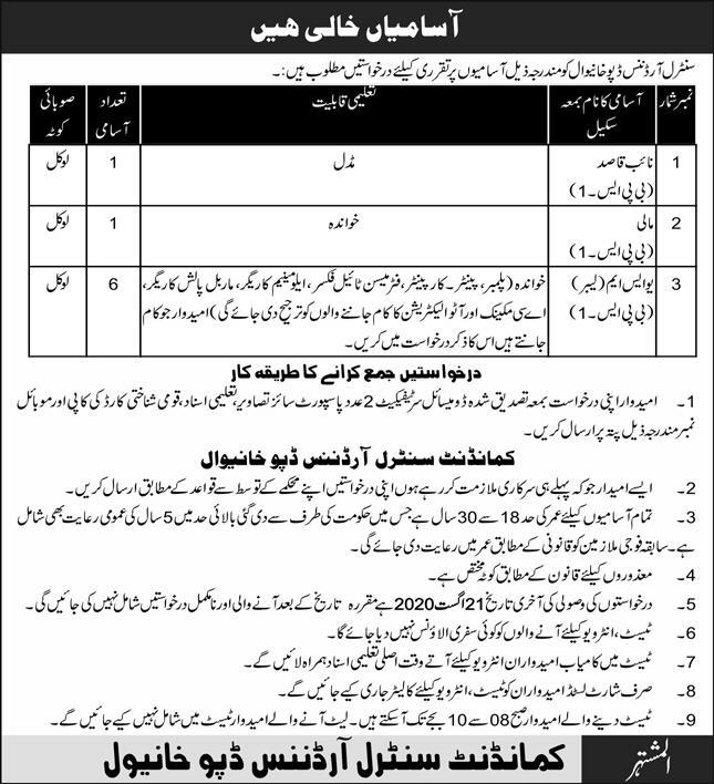 Central Ordnance Depot COD Jobs 2020 in Khanewal