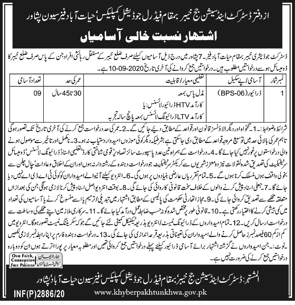 District Judiciary Jobs 2020 For Driving Staff