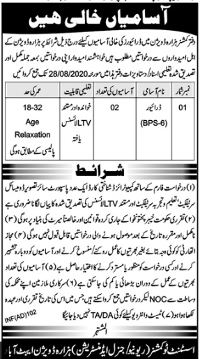 Commissioner Office Jobs 2020 For Driving Staff