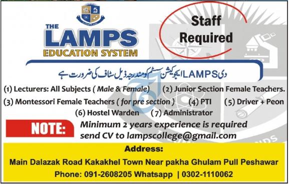 The Lamps Education System Jobs 2020 in Peshawar KPK
