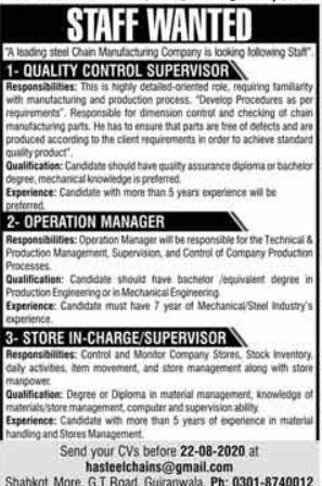 Steel Manufacturing Company Jobs 2020 in Gujranwala
