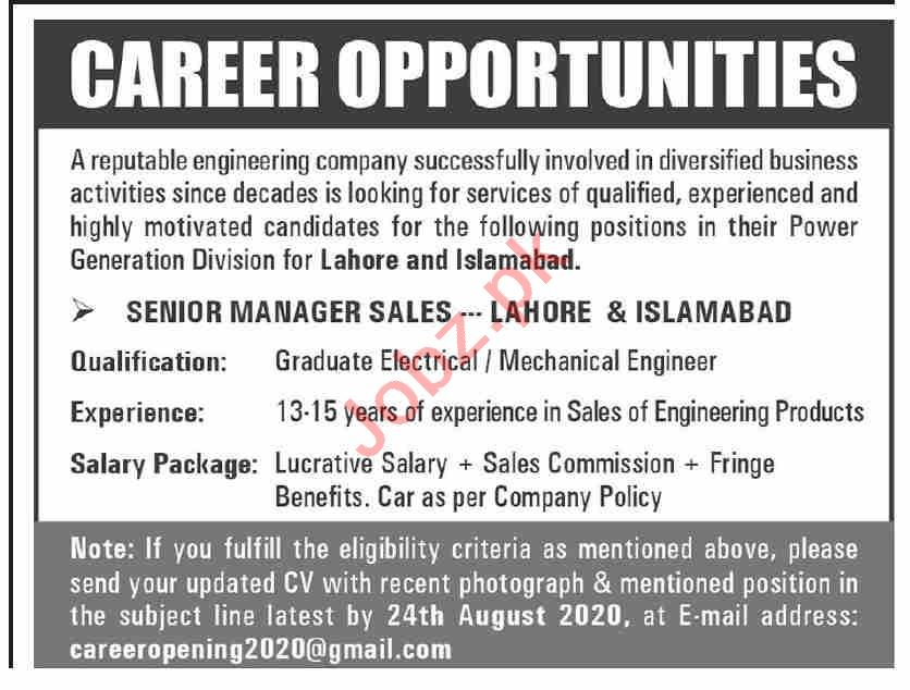 Senior Manager Sales Jobs 2020 in Islamabad