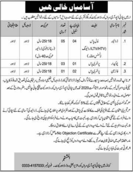 Base Supply Depot Army Service Core Lahore Cantt Jobs 2020
