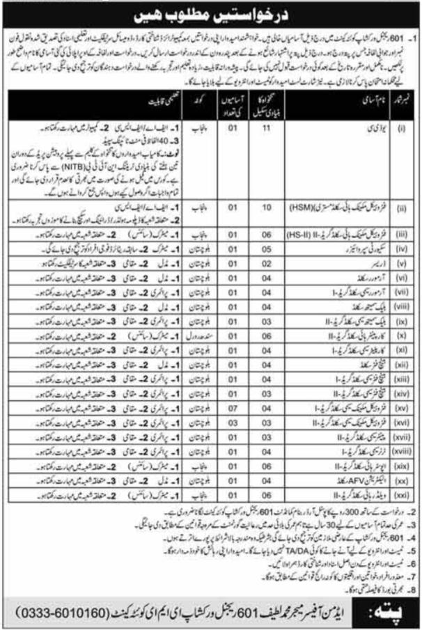 Pakistan Army 601 Regional Workshop Quetta Cantt Jobs 2020