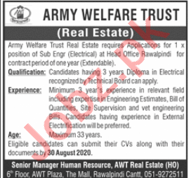 Army Welfare Trust AWT Rawalpindi Jobs 2020 for Engineer