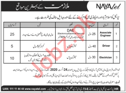 Nayatel Islamabad Jobs 2020 for Associate Engineer & Driver