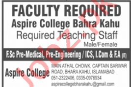 Aspire College Bahra Kahu Jobs 2020 for Teaching Staff