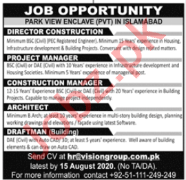 Park View Enclave Islamabad Jobs 2020 for Director & Manager