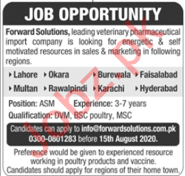 Forward Solutions Jobs 2020 for Area Sales Manager