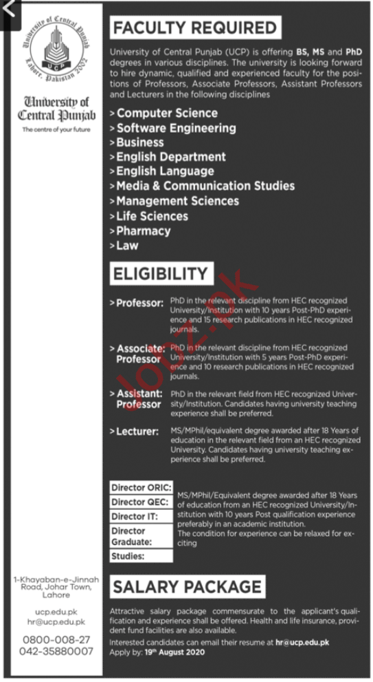 University of Central Punjab UCP Jobs 2020 for Professors