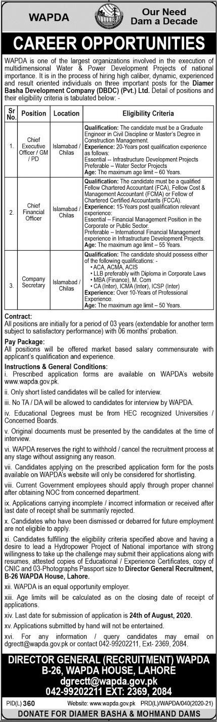 Water and Power Development Authority WAPDA Jobs 2020