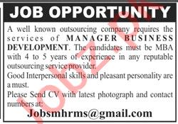 Manager Business Development Jobs 2020 in Karachi