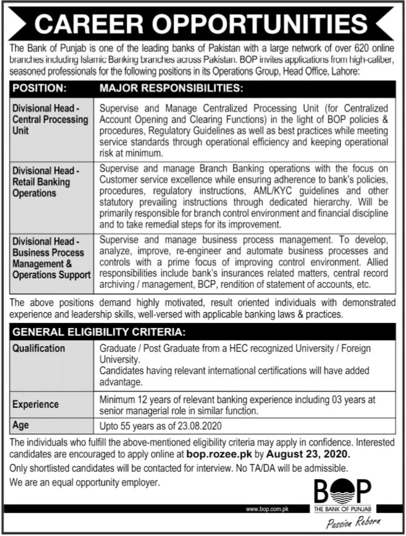 The Bank of Punjab BOP Jobs 2020 in Lahore