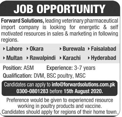 Forward Solutions Jobs 2020 For Sales & Marketing Staff
