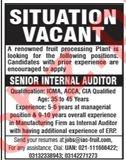Senior Internal Auditor Jobs 2020 in Karachi