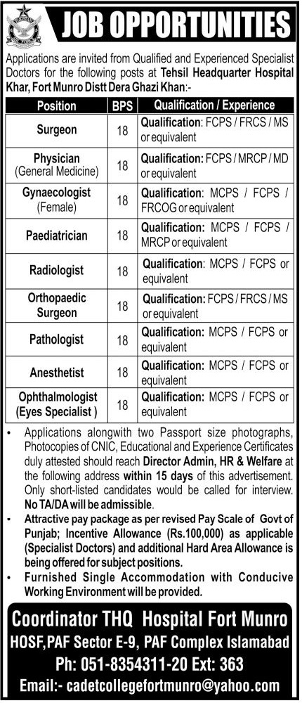 Tehsil Headquarter Hospital Jobs 2020 in Dera Ghazi DG Khan