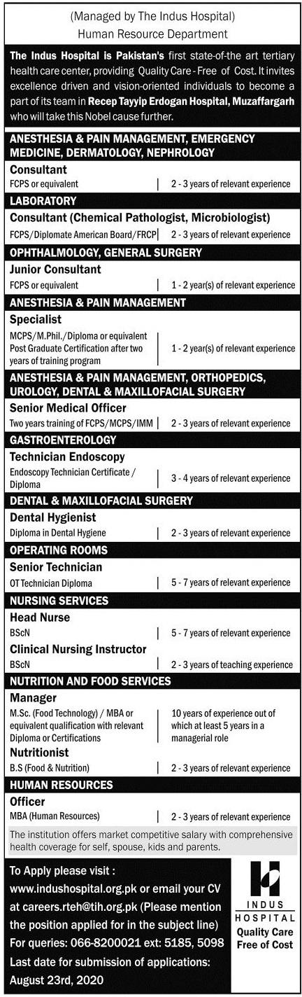 Indus Hospital Jobs 2020 in Muzaffargarh