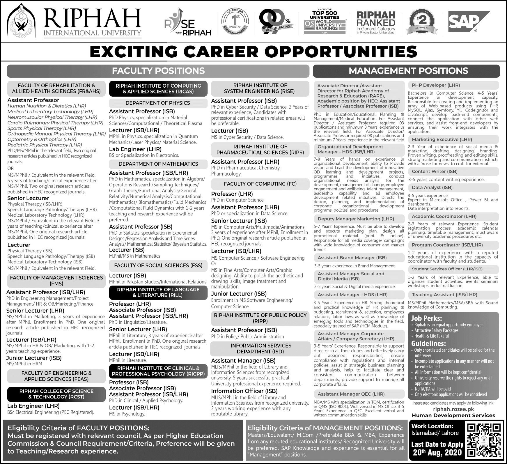 Riphah International University Jobs in Islamabad & Lahore