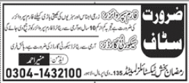 Ramzan Bakhsh Textile Mills Limited Jobs 2020 in Lahore