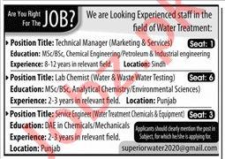 Technical Manager & Lab Chemist Jobs 2020 in Karachi
