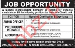 Admin Officer & Production Incharge Jobs 2020 in Karachi